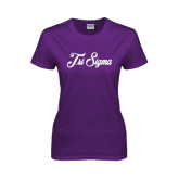Ladies Purple T Shirt-Fancy Script Tri Sigma