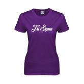 Ladies Purple T Shirt-Fancy Script Tri Sigma