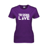 Ladies Purple T Shirt-Tri Sigma Love