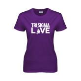 Ladies Purple T Shirt-Tri Sigma Love