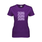 Ladies Purple T Shirt-Sigma Sigma Sigma Stacked