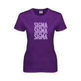 Ladies Purple T Shirt-Sigma Sigma Sigma Stacked