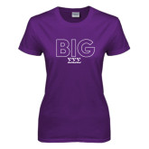Ladies Purple T Shirt-Block Letters w/ Pattern Big