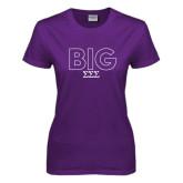 Ladies Purple T Shirt-Block Letters w/ Pattern Big