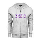 ENZA Ladies White Fleece Full Zip Hoodie-Greek Style Letters - Tri Sigma Pattern
