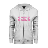 ENZA Ladies White Fleece Full Zip Hoodie-Greek Style Letters