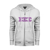 ENZA Ladies White Fleece Full Zip Hoodie-Greek Style Letters - Polka Dot