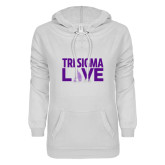 ENZA Ladies White V Notch Raw Edge Fleece Hoodie-Tri Sigma Love