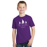 Youth Purple T Shirt-Legacy 3 Sailboats