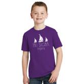 Youth Purple T Shirt-Legacy 3 Sailboats