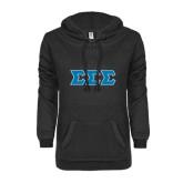 ENZA Ladies Black V Notch Raw Edge Fleece Hoodie-Greek Style Letters
