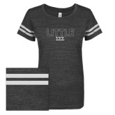 ENZA Ladies Black/White Vintage Triblend Football Tee-Block Letters w/ Pattern Little