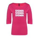 Ladies Dark Fuchsia Perfect Weight 3/4 Sleeve Tee-Stacked Sigma Sigma Sigma