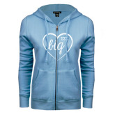 ENZA Ladies Light Blue Fleece Full Zip Hoodie-Big in Heart