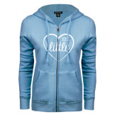 ENZA Ladies Light Blue Fleece Full Zip Hoodie-Little in Heart