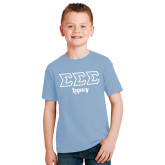 Youth Light Blue T Shirt-Legacy Greek Style Ltrs