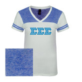 Ladies White/Heathered Deep Royal Juniors Varsity V Neck Tee-Greek Style Letters - Chevron
