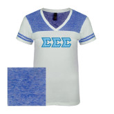 Ladies White/Heathered Deep Royal Juniors Varsity V Neck Tee-Greek Style Letters - Lace