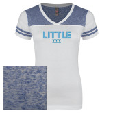 Ladies White/Heathered Deep Royal Juniors Varsity V Neck Tee-Block Letters w/ Pattern Little