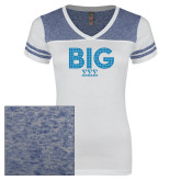 Ladies White/Heathered Deep Royal Juniors Varsity V Neck Tee-Block Letters w/ Pattern Big