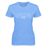 Ladies Sky Blue T Shirt-Block Letters w/ Pattern Little