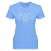 Ladies Sky Blue T-Shirt-Block Letters w/ Pattern Big
