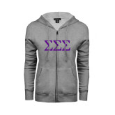 ENZA Ladies Grey Fleece Full Zip Hoodie-Greek Letters - One Color