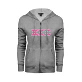 ENZA Ladies Grey Fleece Full Zip Hoodie-Greek Style Letters - Lace