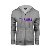 ENZA Ladies Grey Fleece Full Zip Hoodie-Tri Sigma Flat