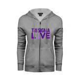 ENZA Ladies Grey Fleece Full Zip Hoodie-Tri Sigma Love