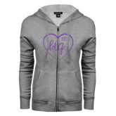 ENZA Ladies Grey Fleece Full Zip Hoodie-Big in Heart