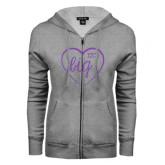 ENZA Ladies Grey Fleece Full Zip Hoodie-Big in Heart