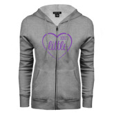 ENZA Ladies Grey Fleece Full Zip Hoodie-Little in Heart