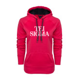Ladies Pink Raspberry Tech Fleece Hoodie-Tri Sigma Stacked - Official