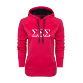 Ladies Pink Raspberry Tech Fleece Hoodie-Greek Letters - One Color