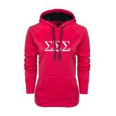 Ladies Pink Raspberry Tech Fleece Hoodie-Greek Letters - One Color