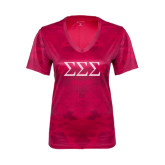 Ladies Pink Raspberry Camohex Performance Tee-Greek Letters - One Color