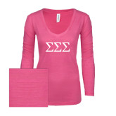 ENZA Ladies Hot Pink Long Sleeve V Neck Tee-Greek Letters - One Color
