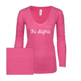 ENZA Ladies Hot Pink Long Sleeve V Neck Tee-Curly Script Tri Sigma