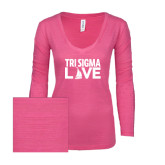 ENZA Ladies Hot Pink Long Sleeve V Neck Tee-Tri Sigma Love