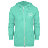 ENZA Ladies Seaglass Marled Full Zip Hoodie-Little in Heart