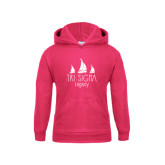 Youth Raspberry Fleece Hoodie-Legacy 3 Sailboats