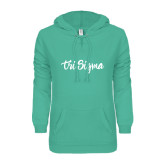 ENZA Ladies Seaglass V Notch Raw Edge Fleece Hoodie-Ink Script Tri Sigma