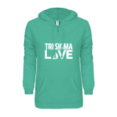 ENZA Ladies Seaglass V Notch Raw Edge Fleece Hoodie-Tri Sigma Love