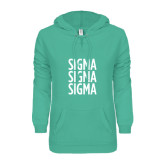 ENZA Ladies Seaglass V Notch Raw Edge Fleece Hoodie-Sigma Sigma Sigma Stacked