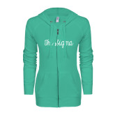 ENZA Ladies Seaglass Light Weight Fleece Full Zip Hoodie-Curly Script Tri Sigma