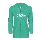 ENZA Ladies Seaglass Light Weight Fleece Full Zip Hoodie-Fancy Script Tri Sigma