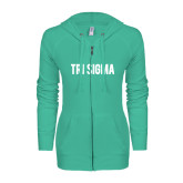 ENZA Ladies Seaglass Light Weight Fleece Full Zip Hoodie-Tri Sigma Flat