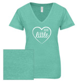 ENZA Ladies Seaglass Melange V Neck Tee-Little in Heart