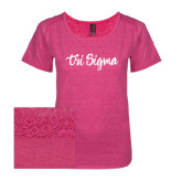 Ladies Dark Fuchsia Heather Tri-Blend Lace Tee-Ink Script Tri Sigma